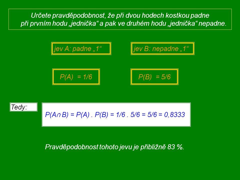 """Určete pravděpodobnost, že při dvou hodech kostkou padne při prvním hodu """"jednička"""" a pak ve druhém hodu """"jednička"""" nepadne ! P(A) = 1/6  = {(1;2), ("""