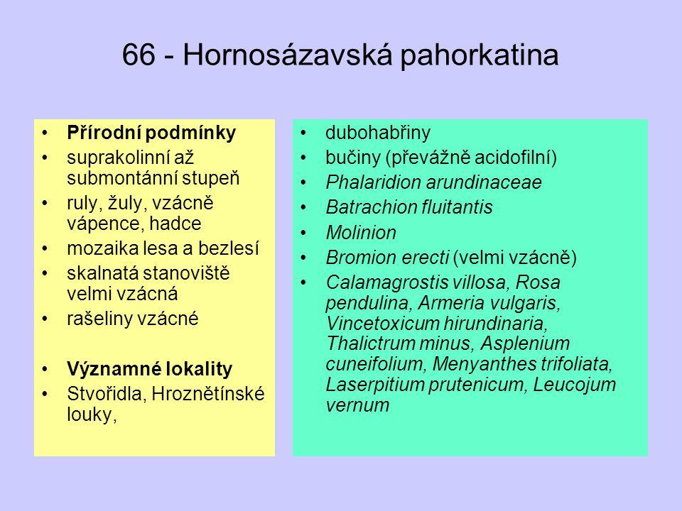 66 - Hornosázavská pahorkatina Přírodní podmínky suprakolinní až submontánní stupeň ruly, žuly, vzácně vápence, hadce mozaika lesa a bezlesí skalnatá stanoviště velmi vzácná rašeliny vzácné Významné lokality Stvořidla, Hroznětínské louky, dubohabřiny bučiny (převážně acidofilní) Phalaridion arundinaceae Batrachion fluitantis Molinion Bromion erecti (velmi vzácně) Calamagrostis villosa, Rosa pendulina, Armeria vulgaris, Vincetoxicum hirundinaria, Thalictrum minus, Asplenium cuneifolium, Menyanthes trifoliata, Laserpitium prutenicum, Leucojum vernum
