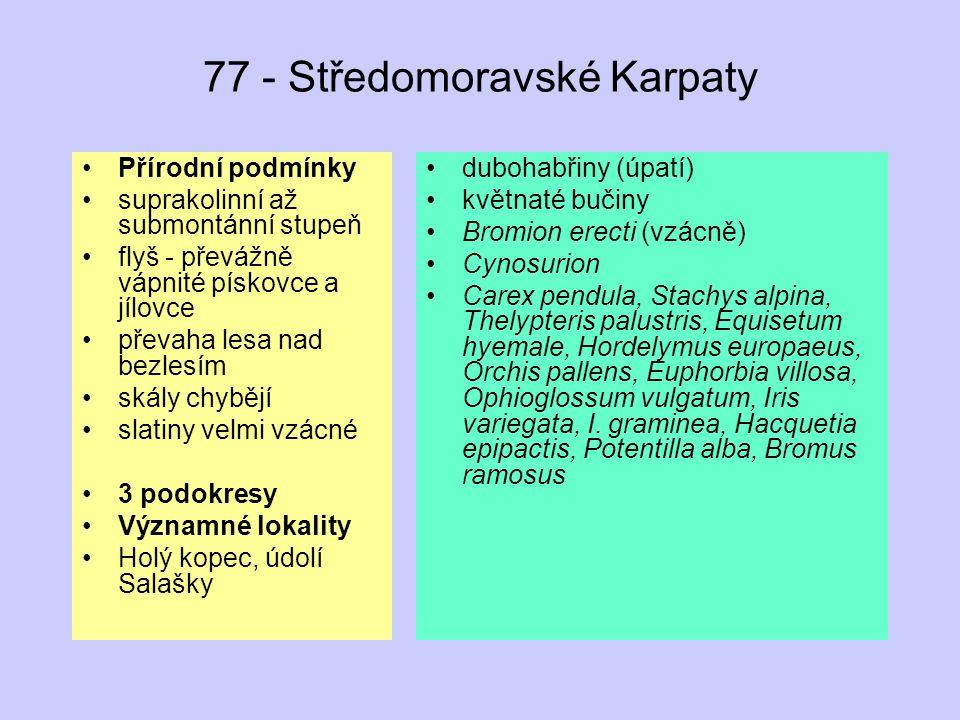 77 - Středomoravské Karpaty Přírodní podmínky suprakolinní až submontánní stupeň flyš - převážně vápnité pískovce a jílovce převaha lesa nad bezlesím skály chybějí slatiny velmi vzácné 3 podokresy Významné lokality Holý kopec, údolí Salašky dubohabřiny (úpatí) květnaté bučiny Bromion erecti (vzácně) Cynosurion Carex pendula, Stachys alpina, Thelypteris palustris, Equisetum hyemale, Hordelymus europaeus, Orchis pallens, Euphorbia villosa, Ophioglossum vulgatum, Iris variegata, I.