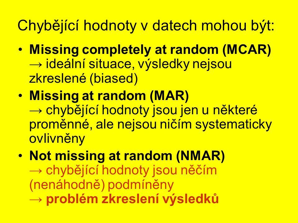 Chybějící hodnoty v datech mohou být: Missing completely at random (MCAR) → ideální situace, výsledky nejsou zkreslené (biased) Missing at random (MAR