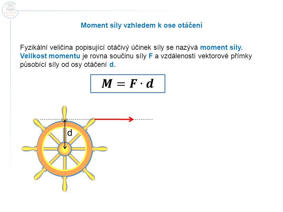 Moment síly vzhledem k ose otáčení Fyzikální veličina popisující otáčivý účinek síly se nazývá moment síly. Velikost momentu je rovna součinu síly F a