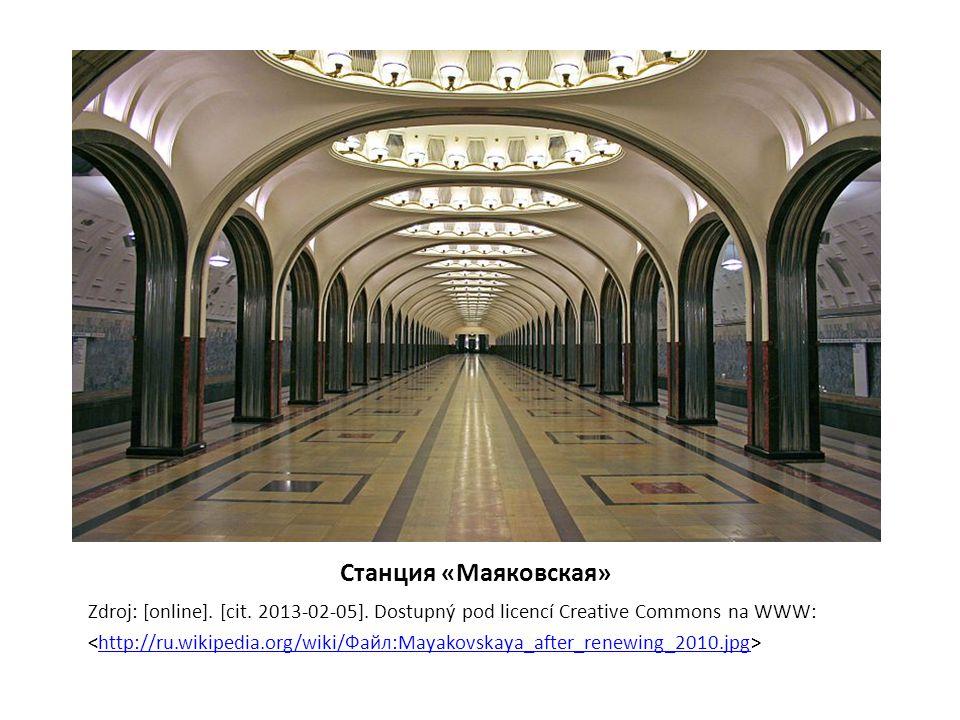 Станция «Маяковская» Zdroj: [online]. [cit. 2013-02-05]. Dostupný pod licencí Creative Commons na WWW: http://ru.wikipedia.org/wiki/Файл:Mayakovskaya_