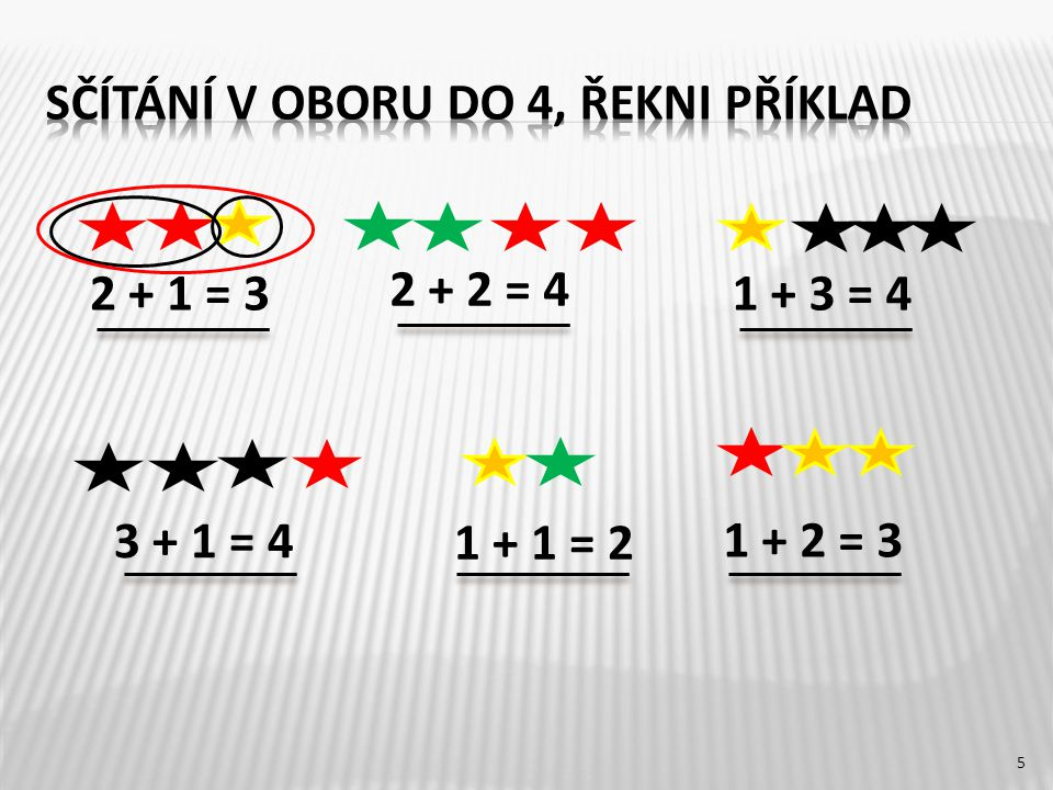 2 + 1 = 3 1 + 1 = 2 3 + 1 = 4 2 + 2 = 4 1 + 3 = 4 1 + 2 = 3 5
