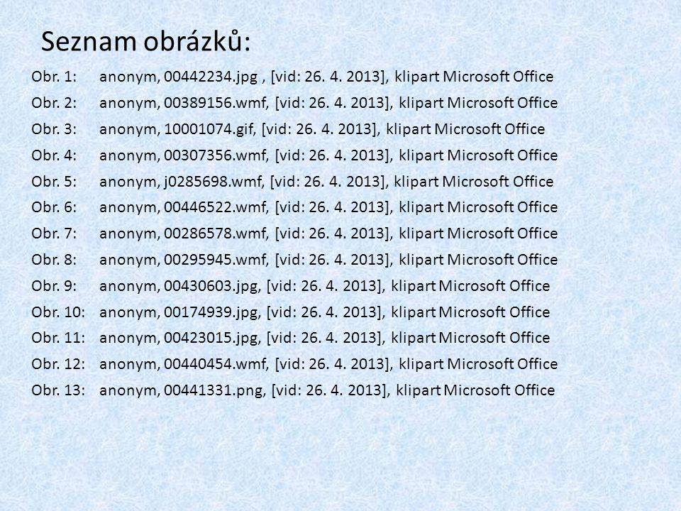 Seznam obrázků: Obr. 1:anonym, 00442234.jpg, [vid: 26. 4. 2013], klipart Microsoft Office Obr. 2:anonym, 00389156.wmf, [vid: 26. 4. 2013], klipart Mic