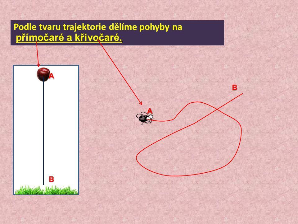 Podle tvaru trajektorie dělíme pohyby na přímočaré a křivočaré. A A B B