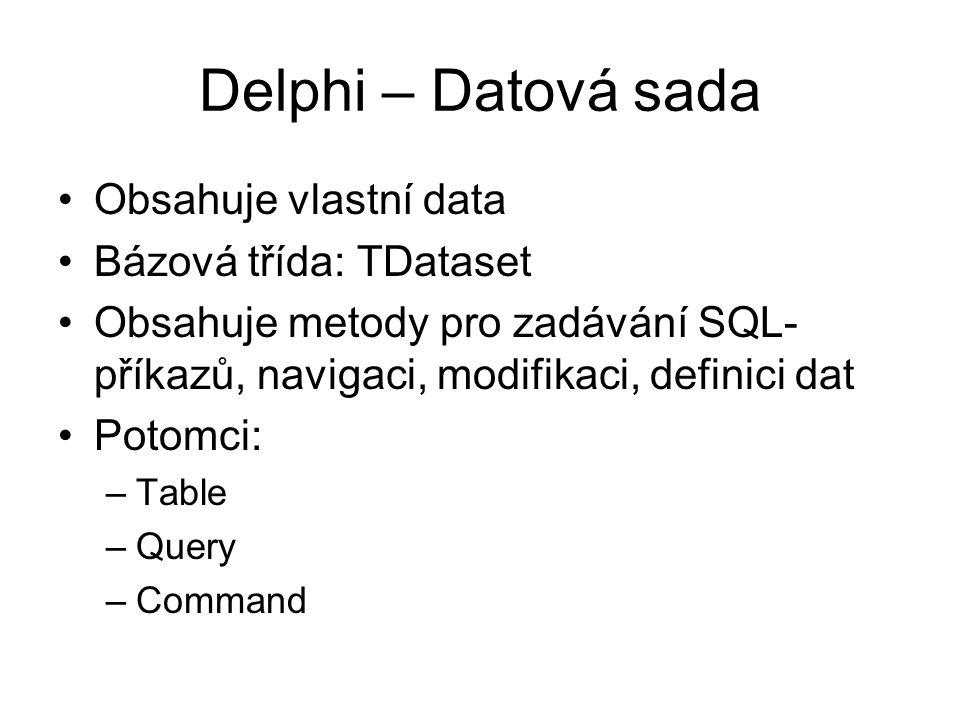 Delphi – Datová sada Obsahuje vlastní data Bázová třída: TDataset Obsahuje metody pro zadávání SQL- příkazů, navigaci, modifikaci, definici dat Potomc