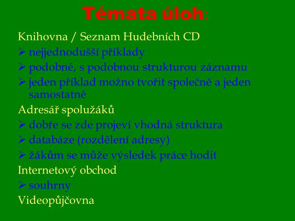 Témata úloh : Knihovna / Seznam Hudebních CD  nejjednodušší příklady  podobné, s podobnou strukturou záznamu  jeden příklad možno tvořit společně a jeden samostatně Adresář spolužáků  dobře se zde projeví vhodná struktura  databáze (rozdělení adresy)  žákům se může výsledek práce hodit Internetový obchod  souhrny Videopůjčovna
