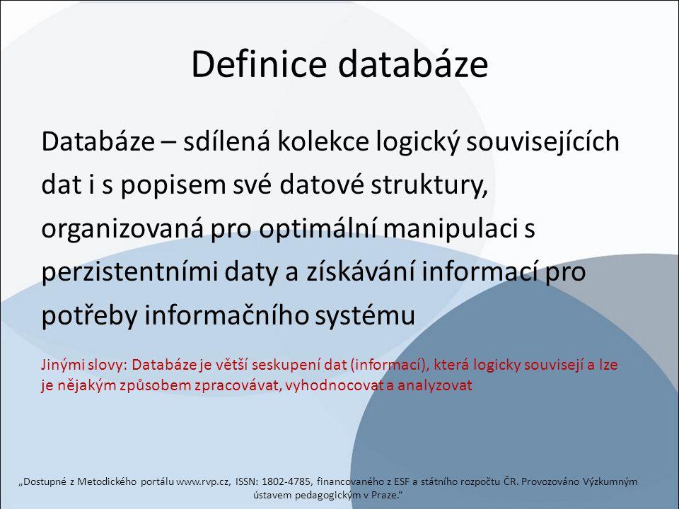 Definice databáze Databáze – sdílená kolekce logický souvisejících dat i s popisem své datové struktury, organizovaná pro optimální manipulaci s perzi