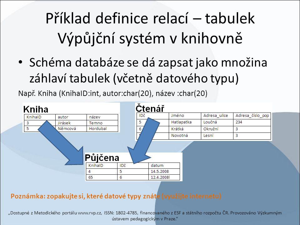Příklad definice relací – tabulek Výpůjční systém v knihovně Schéma databáze se dá zapsat jako množina záhlaví tabulek (včetně datového typu) Např. Kn