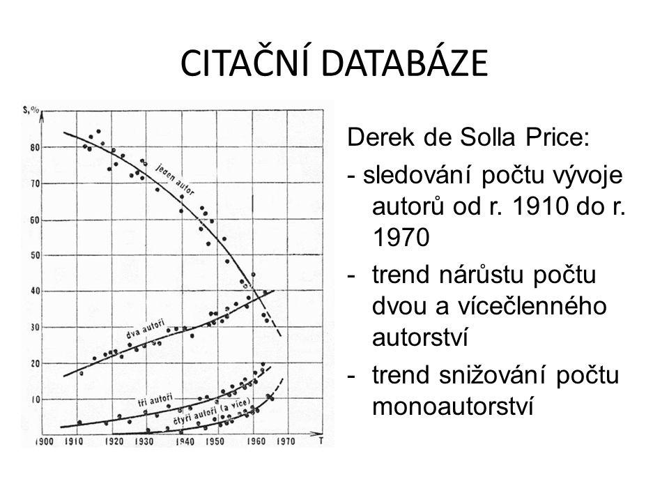 CITAČNÍ DATABÁZE Derek de Solla Price: - sledování počtu vývoje autorů od r. 1910 do r. 1970 -trend nárůstu počtu dvou a vícečlenného autorství -trend