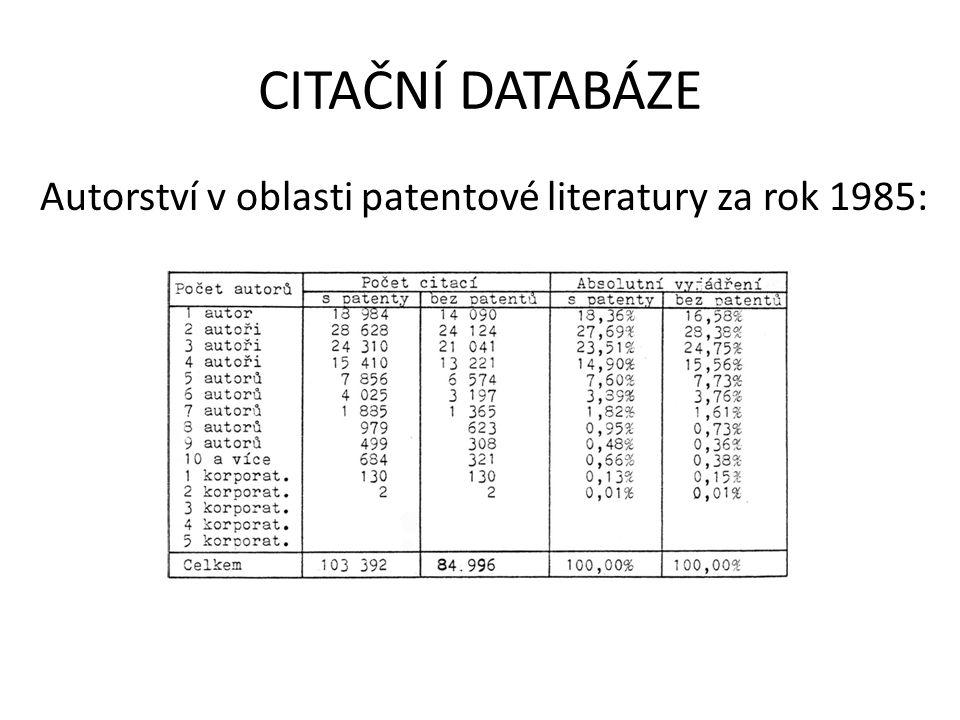 CITAČNÍ DATABÁZE Autorství v oblasti patentové literatury za rok 1985: