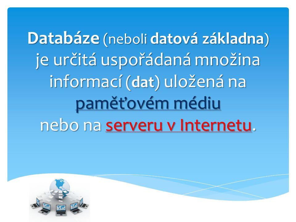 Součástí databáze jsou i programy, které umožňují manipulaci s uloženými daty a přístup k nim.