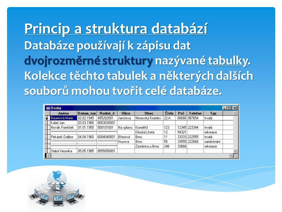 Princip a struktura databází Databáze používají k zápisu dat dvojrozměrné struktury nazývané tabulky. Kolekce těchto tabulek a některých dalších soubo