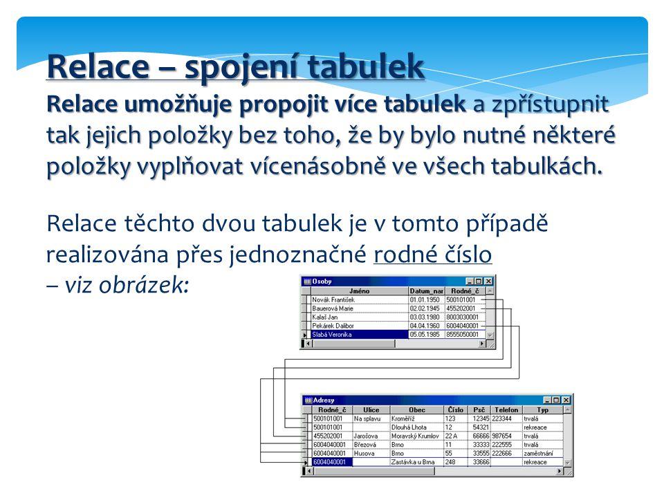 Relace – spojení tabulek Relace umožňuje propojit více tabulek a zpřístupnit tak jejich položky bez toho, že by bylo nutné některé položky vyplňovat v