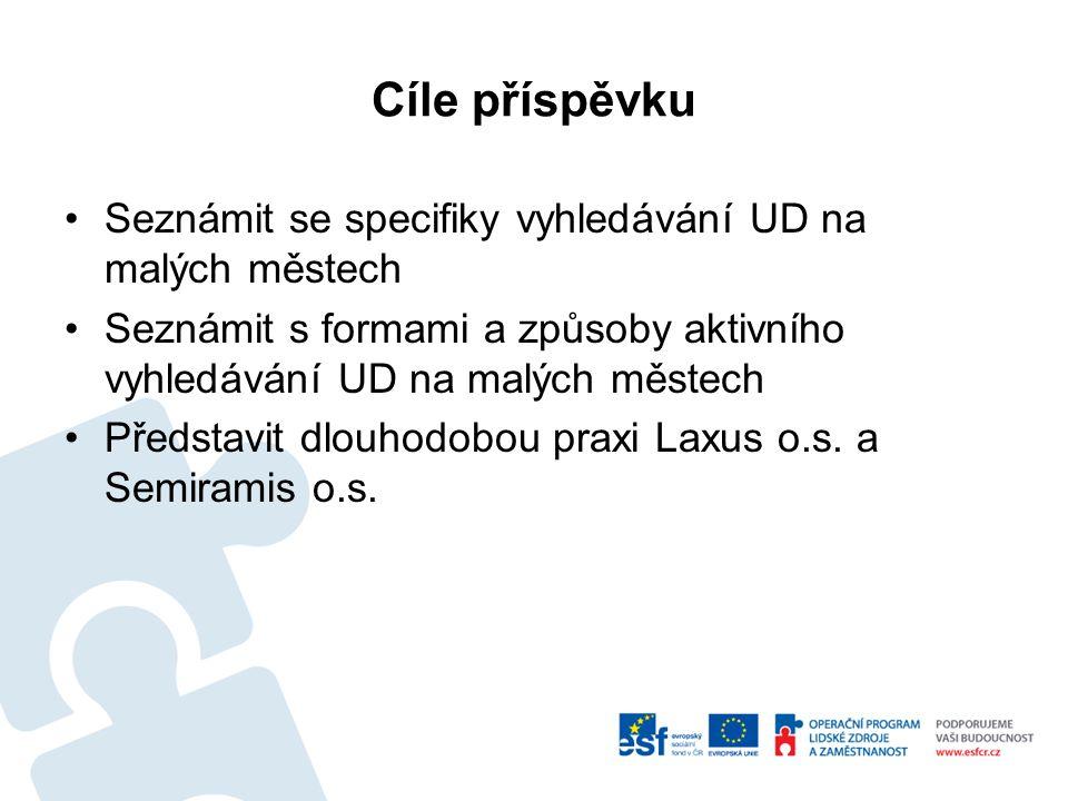 Cíle příspěvku Seznámit se specifiky vyhledávání UD na malých městech Seznámit s formami a způsoby aktivního vyhledávání UD na malých městech Představit dlouhodobou praxi Laxus o.s.