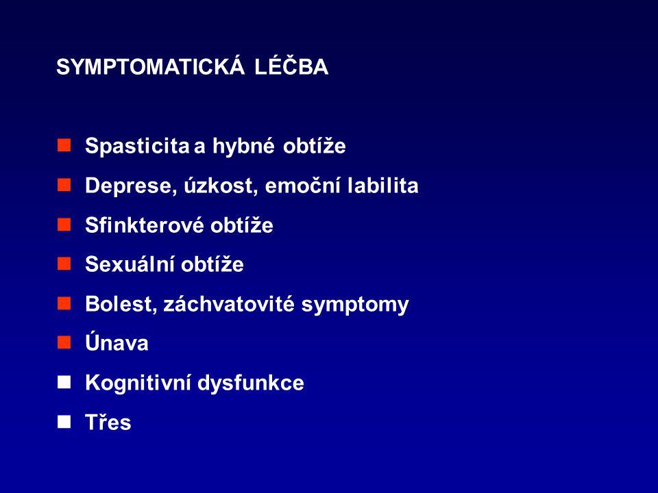SYMPTOMATICKÁ LÉČBA Spasticita a hybné obtíže Deprese, úzkost, emoční labilita Sfinkterové obtíže Sexuální obtíže Bolest, záchvatovité symptomy Únava