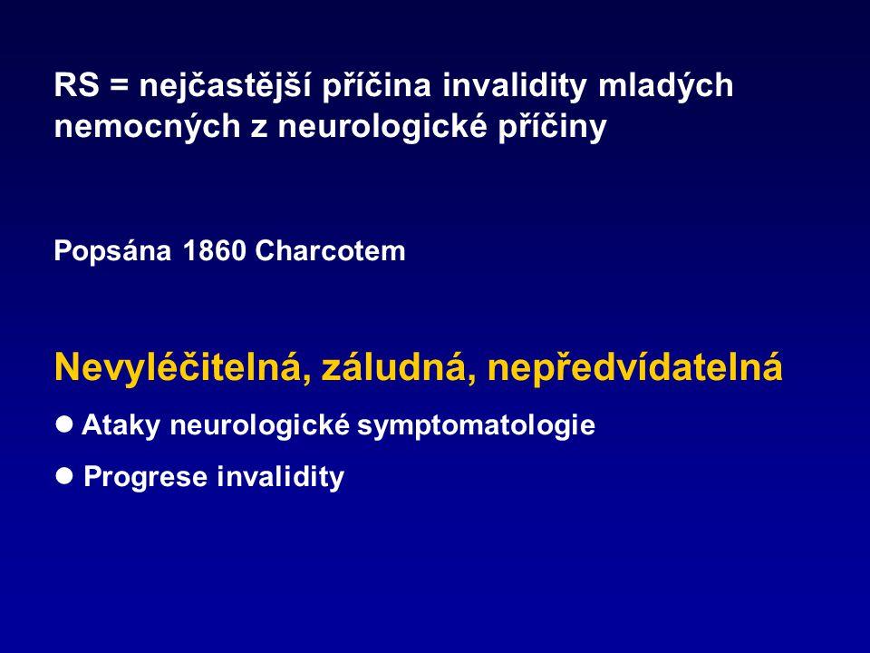 RS = autoimunitní onemocnění  onemocnění je zprostředkované autoagresivními bílými krvinkami, které rozpoznávají vlastní obaly nervových vláken jako nepřítele a útočí na ně  co je podnětem k tomu, aby tento útok zahájily, není jasné  tyto buňky se množí a vstupují do cílového orgánu – mozku a míchy (CNS)  tam vytvářejí ložiska zánětu, v nichž dochází k:  rozpadu myelinu (obalu nervových vláken)  k ničení nervových vláken