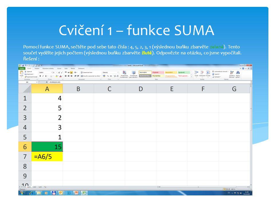 Pomocí funkce SUMA, sečtěte pod sebe tato čísla : 4, 5, 2, 3, 1 (výslednou buňku zbarvěte zeleně).