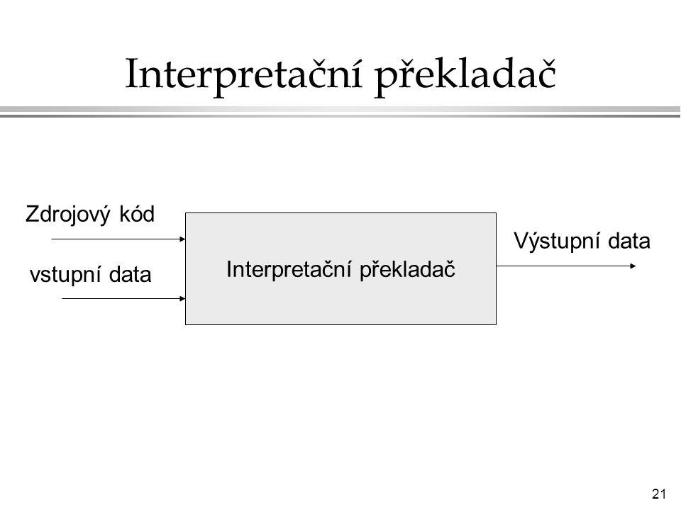 21 Interpretační překladač Zdrojový kód vstupní data Výstupní data