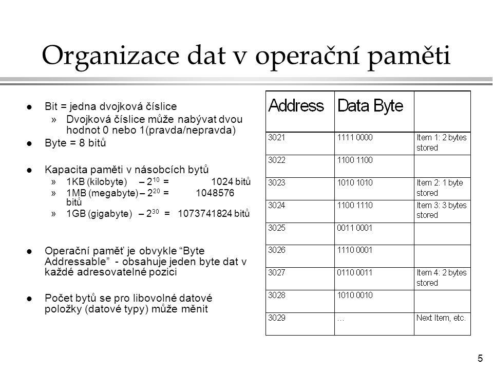 5 Organizace dat v operační paměti l Bit = jedna dvojková číslice »Dvojková číslice může nabývat dvou hodnot 0 nebo 1(pravda/nepravda) l Byte = 8 bitů l Kapacita paměti v násobcích bytů »1KB (kilobyte) – 2 10 = 1024 bitů »1MB (megabyte) – 2 20 = 1048576 bitů »1GB (gigabyte) – 2 30 = 1073741824 bitů l Operační paměť je obvykle Byte Addressable - obsahuje jeden byte dat v každé adresovatelné pozici l Počet bytů se pro libovolné datové položky (datové typy) může měnit