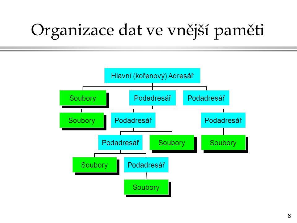 6 Organizace dat ve vnější paměti