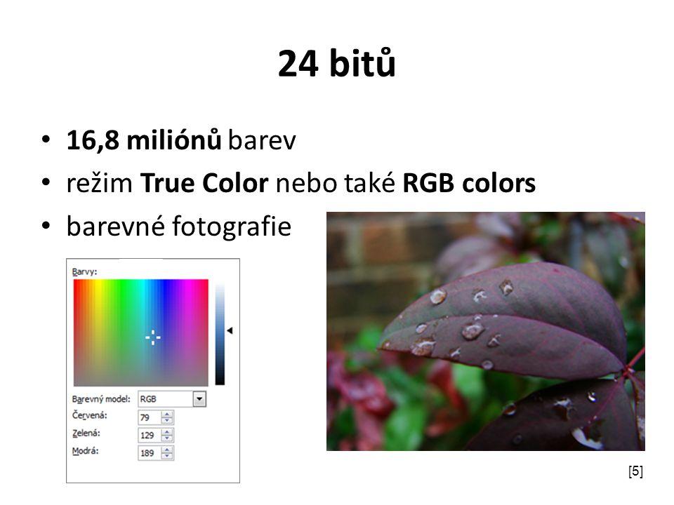 24 bitů 16,8 miliónů barev režim True Color nebo také RGB colors barevné fotografie [5]