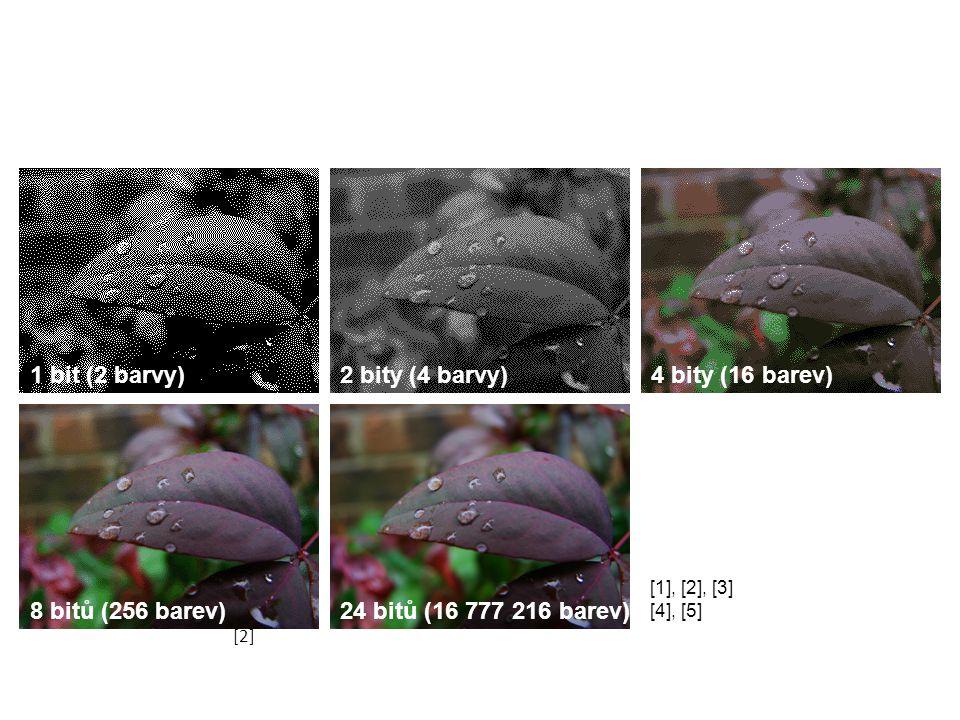 1 bit (2 barvy)2 bity (4 barvy)4 bity (16 barev) 8 bitů (256 barev)24 bitů (16 777 216 barev) [2] [1], [2], [3] [4], [5]