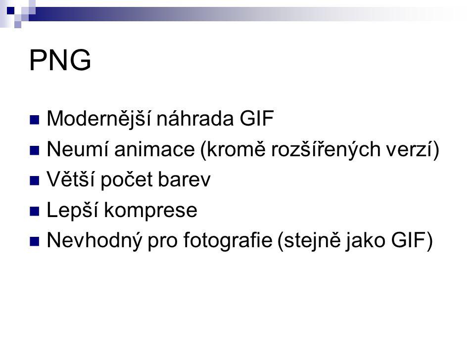 PNG Modernější náhrada GIF Neumí animace (kromě rozšířených verzí) Větší počet barev Lepší komprese Nevhodný pro fotografie (stejně jako GIF)
