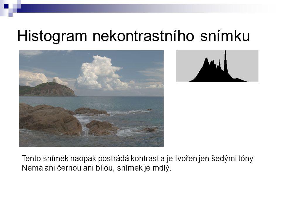 Histogram nekontrastního snímku Tento snímek naopak postrádá kontrast a je tvořen jen šedými tóny.
