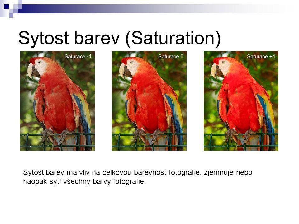 Sytost barev (Saturation) Sytost barev má vliv na celkovou barevnost fotografie, zjemňuje nebo naopak sytí všechny barvy fotografie.