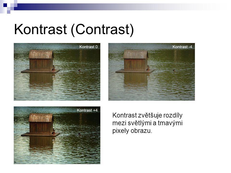 Kontrast (Contrast) Kontrast zvětšuje rozdíly mezi světlými a tmavými pixely obrazu.
