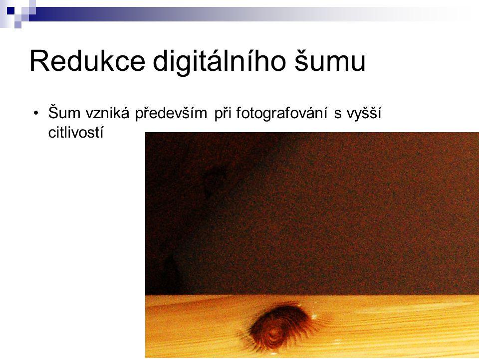 Redukce digitálního šumu Šum vzniká především při fotografování s vyšší citlivostí
