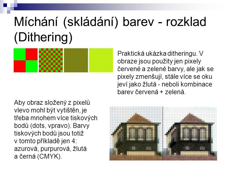 Míchání (skládání) barev - rozklad (Dithering) Praktická ukázka ditheringu.
