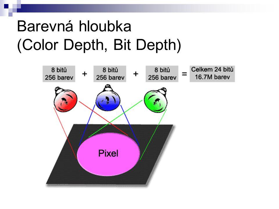Porovnání barevné hloubky Bitů/pixelPočet možných barev/pixelObvyklý název a použití 12Monochrom 24CGA 416EGA 8256VGA 1665.536XGA, High Color 2416.777.216SVGA, True Color, JPEG 3668.719.476.736RAW některých pokročilých fotoaparátů 48281.474.976.710.656TIFF, PNG, PSD