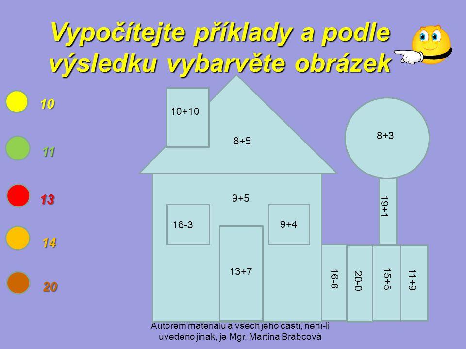 Autorem materiálu a všech jeho částí, není-li uvedeno jinak, je Mgr. Martina Brabcová Vypočítejte příklady a podle výsledku vybarvěte obrázek 8+3 10 1