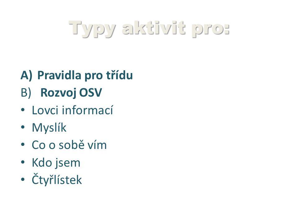 Typy aktivit pro: A)Pravidla pro třídu B) Rozvoj OSV Lovci informací Myslík Co o sobě vím Kdo jsem Čtyřlístek