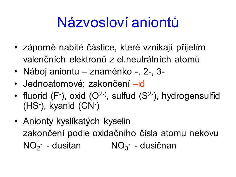 Názvosloví aniontů záporně nabité částice, které vznikají přijetím valenčních elektronů z el.neutrálních atomů Náboj aniontu – znaménko -, 2-, 3- Jedn