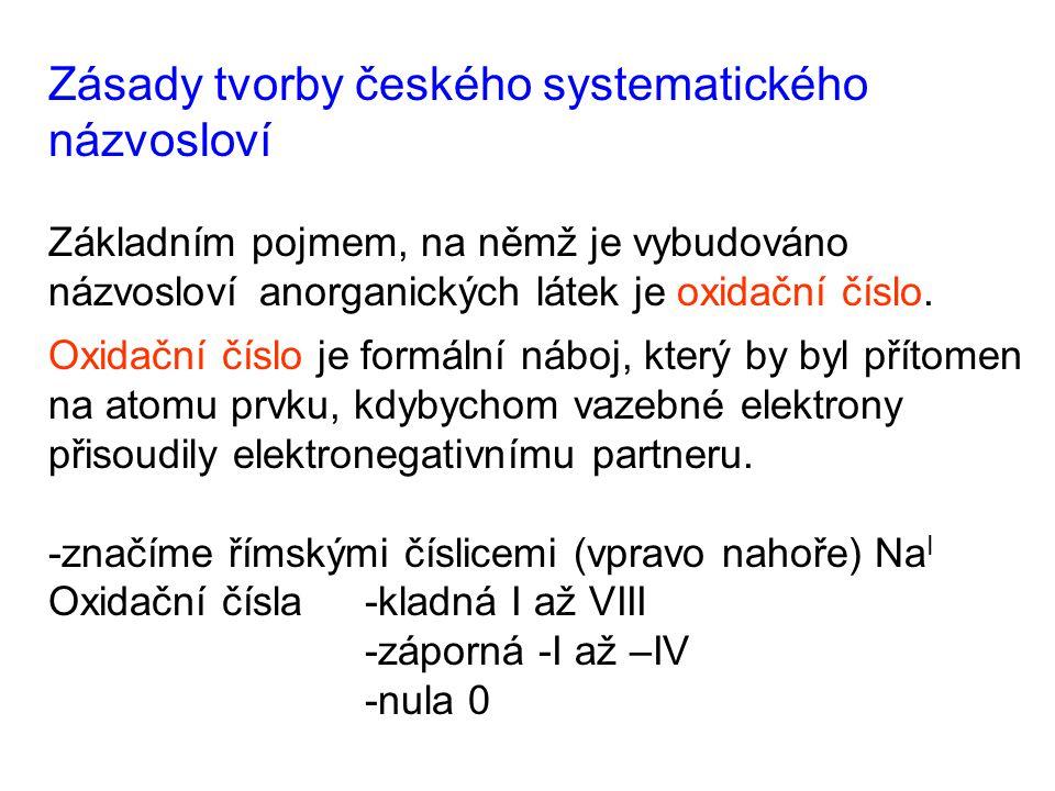 Zásady tvorby českého systematického názvosloví Základním pojmem, na němž je vybudováno názvosloví anorganických látek je oxidační číslo. Oxidační čís