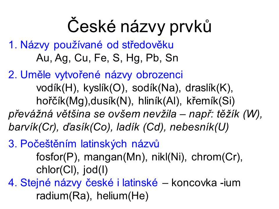 České názvy prvků 1. Názvy používané od středověku Au, Ag, Cu, Fe, S, Hg, Pb, Sn 2. Uměle vytvořené názvy obrozenci vodík(H), kyslík(O), sodík(Na), dr