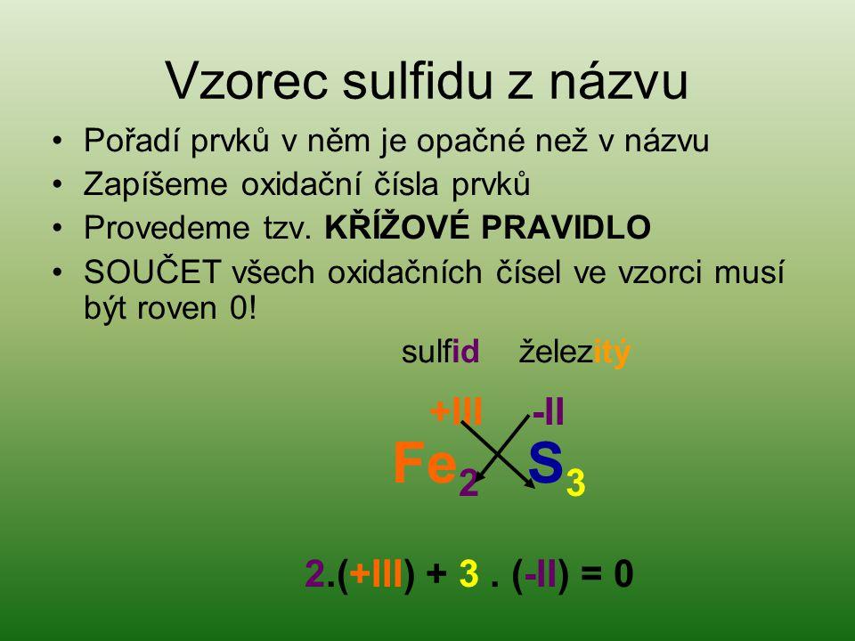 Vzorec sulfidu z názvu Pořadí prvků v něm je opačné než v názvu Zapíšeme oxidační čísla prvků Provedeme tzv. KŘÍŽOVÉ PRAVIDLO SOUČET všech oxidačních