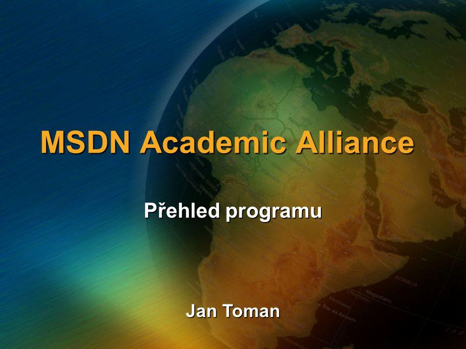MSDN Academic Alliance Přehled programu Jan Toman