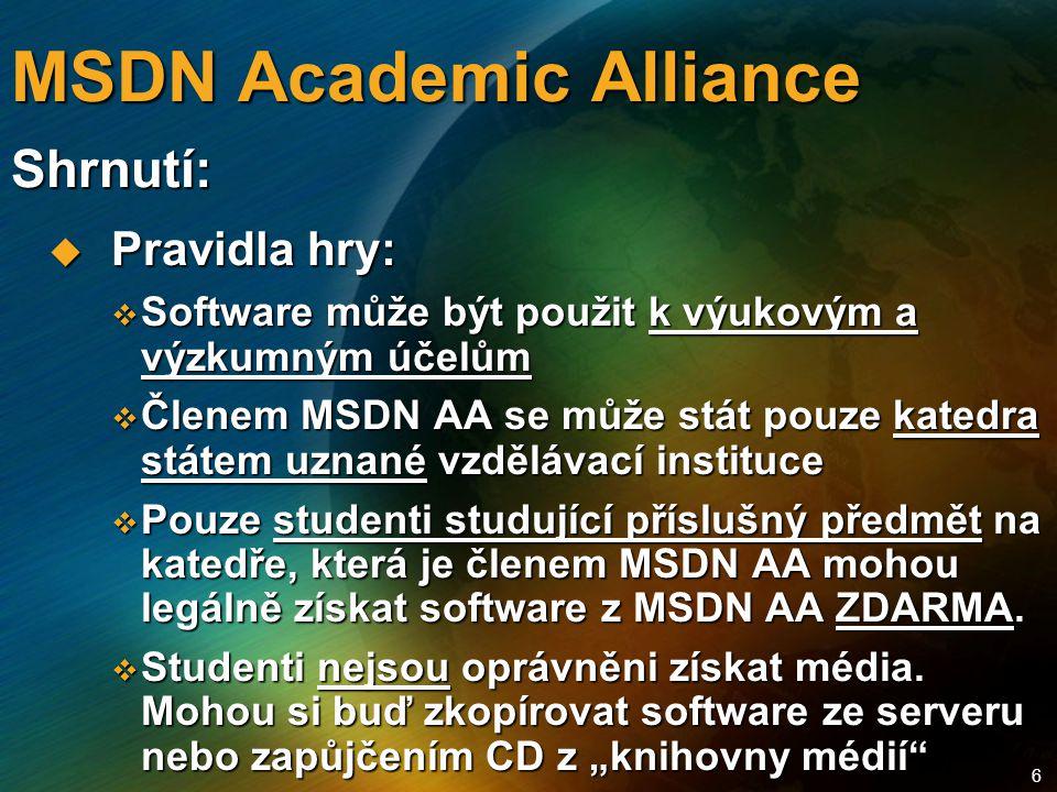 6 MSDN Academic Alliance  Pravidla hry:  Software může být použit k výukovým a výzkumným účelům  Členem MSDN AA se může stát pouze katedra státem uznané vzdělávací instituce  Pouze studenti studující příslušný předmět na katedře, která je členem MSDN AA mohou legálně získat software z MSDN AA ZDARMA.