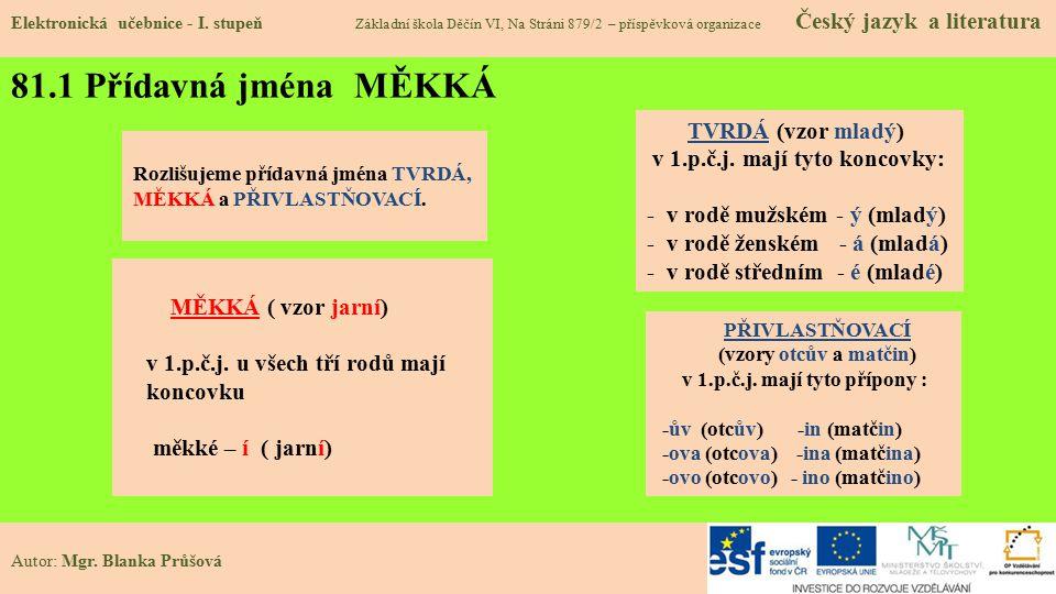 81.1 Přídavná jména MĚKKÁ Elektronická učebnice - I.