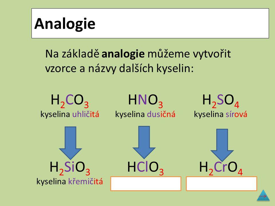 Analogie H2CO3H2CO3 kyselina uhličitá H 2 SiO 3 kyselina křemičitá HNO3HNO3 kyselina dusičná HClO 3 kyselina chlorečná H2SO4H2SO4 kyselina sírová H 2