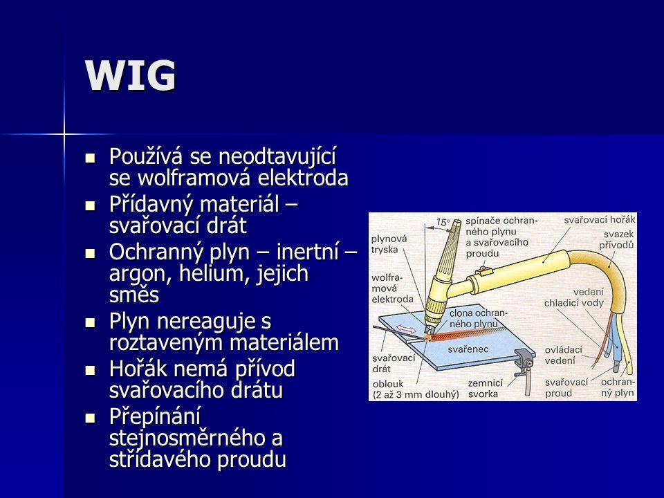 WIG Používá se neodtavující se wolframová elektroda Používá se neodtavující se wolframová elektroda Přídavný materiál – svařovací drát Přídavný materi