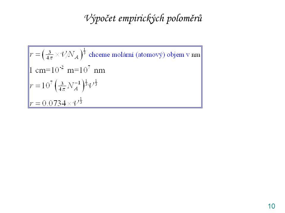 Výpočet empirických poloměrů 10