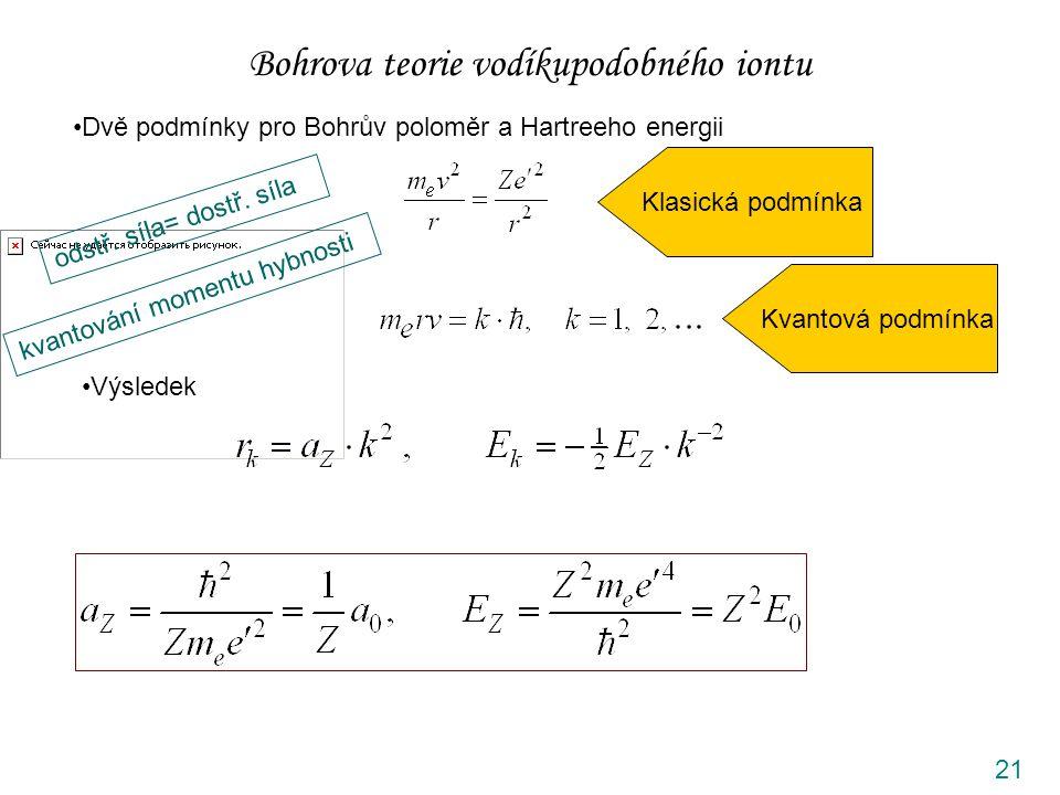 21 Bohrova teorie vodíkupodobného iontu Dvě podmínky pro Bohrův poloměr a Hartreeho energii odstř.