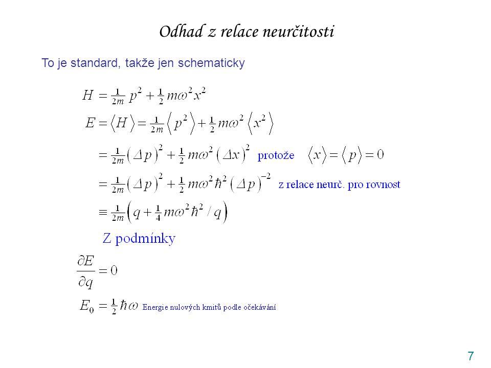7 Odhad z relace neurčitosti To je standard, takže jen schematicky
