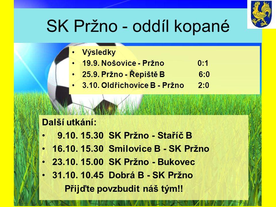SK Pržno - oddíl kopané Další utkání: 9.10. 15.30 SK Pržno - Staříč B 16.10. 15.30 Smilovice B - SK Pržno 23.10. 15.00 SK Pržno - Bukovec 31.10. 10.45