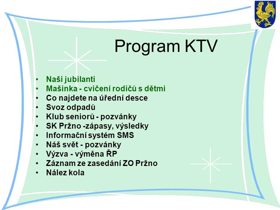 Program KTV Naši jubilanti Mašinka - cvičení rodičů s dětmi Co najdete na úřední desce Svoz odpadů Klub seniorů - pozvánky SK Pržno -zápasy, výsledky